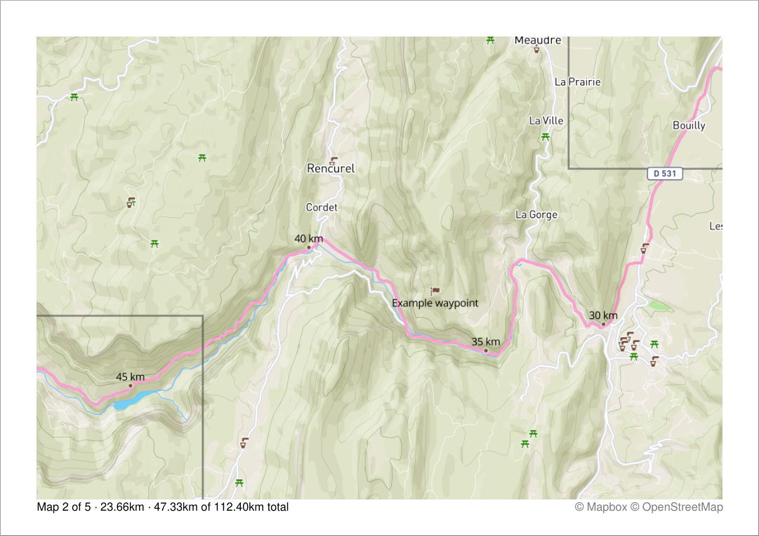A typical page showing the track, distance markers and the overlaps of previous and next map pages as well as some overall stats. Here, an example waypoint and markers for drinking water and picnic sites are added as well. (Highly reduced image quality)